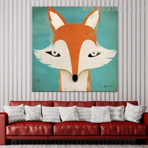 Fox Mug Kids Cartoon Animal Contemporary Framed Portmanteau Photo Canvas Print for Room Wall Assortment