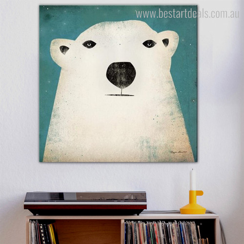 Polar Bear Animal Modern Animated Framed Effigy Image Canvas Print for Room Wall Ornament