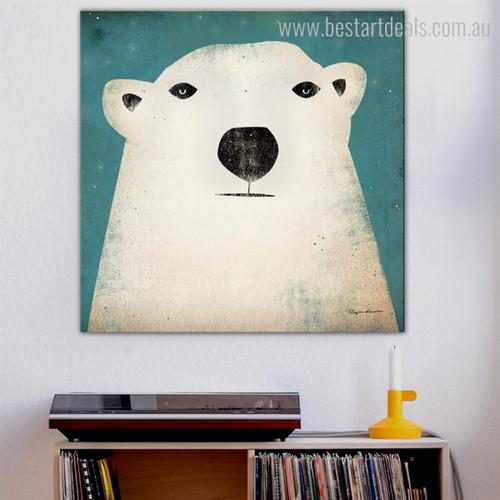 Polar Bear Animal Modern Animated Framed Effigy Image Canvas Print for Room Wall Ornament