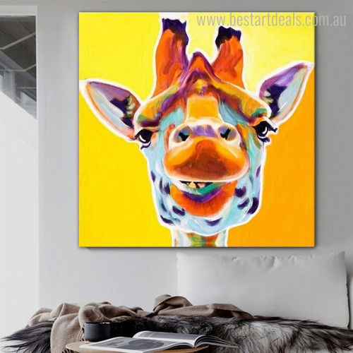 Giraffe Mouth Animal Cartoon Modern Framed Resemblance Photo Canvas Print for Room Wall Decoration