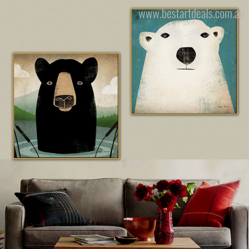 Bears Animal Animated Contemporary Framed Painting Picture Canvas Print for Room Wall Equipment