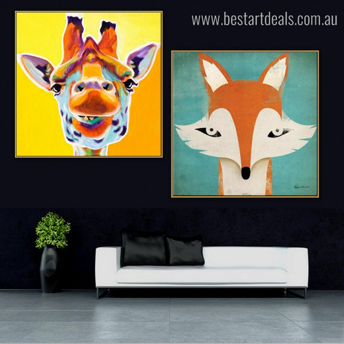 Giraffe and Reynard Animal Animated Modern Framed Smudge Photo Canvas Print for Living Room Wall Flourish