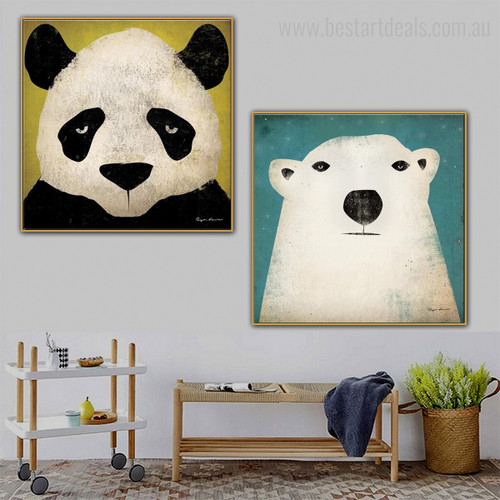 Panda and Bear Animated Animal Modern Framed Vignette Portrait Canvas Print for Room Wall Outfit
