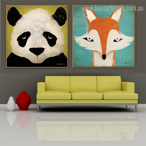 Panda and Tod Animal Animated Framed Resemblance Photo Canvas Print for Room Wall Decoration