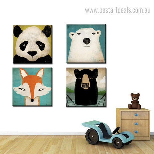 Fauna Complexions Animal Animated Modern Framed Vignette Photo Canvas Print for Room Wall Outfit