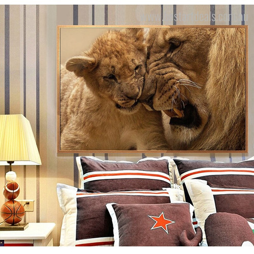 Lion and Cub Animal Modern Framed Painting Portrait Canvas Print for Room Wall Tracery