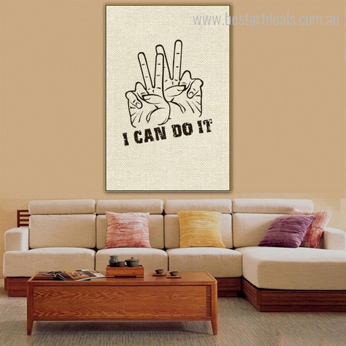 Can Do Abstract Modern Quote Framed Painting Picture Canvas Print for Living Room Wall Outfit
