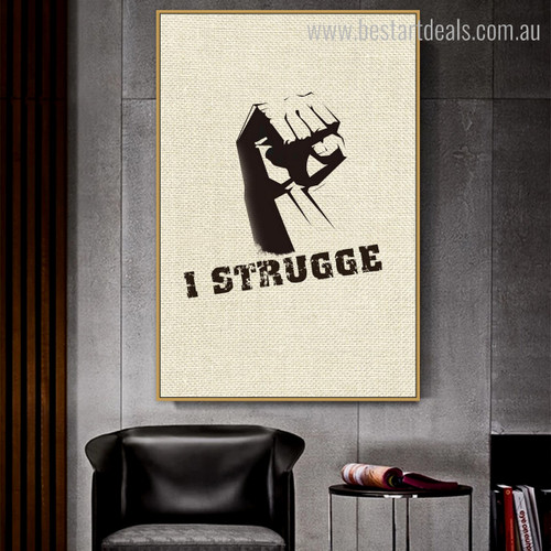 Strugge Abstract Modern Quote Framed Painting Portrait Canvas Print for Room Wall Getup