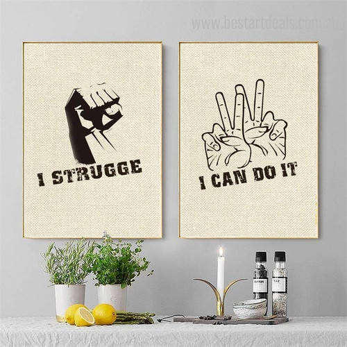 Can Strugge Abstract Modern Quote Framed Painting Photo Canvas Print for Room Wall Decoration