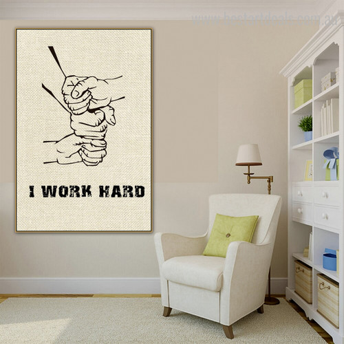 Work Hard Abstract Modern Quote Framed Portmanteau Image Canvas Print for Room Wall Decoration