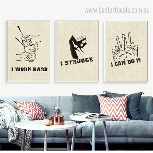 Do Work Hard Abstract Modern Quote Framed Effigy Picture Canvas Print for Room Wall Onlay