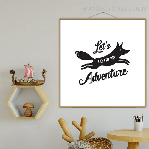 Adventure Animal Nordic Quotes Framed Smudge Portrait Canvas Print for Room Wall Assortment