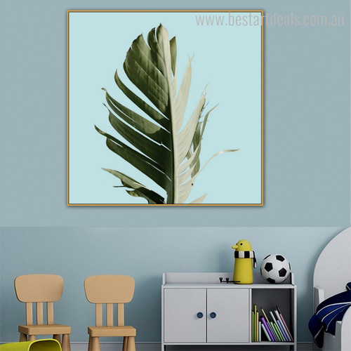Banana Leaflet Botanical Nordic Framed Vignette Image Canvas Print for Kids Room Wall Embellishment