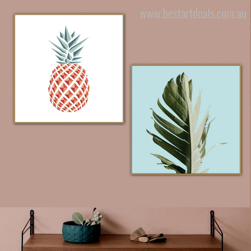 Chopped Leaf Botanical Nordic Framed Vignette Image Canvas Print for Room Wall Decoration