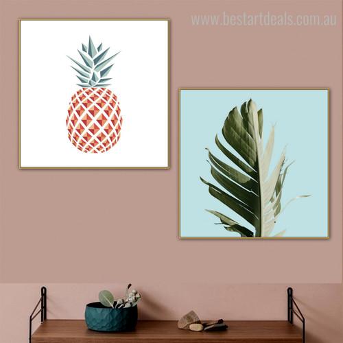 Chopped Leaf Botanical Nordic Framed Vignette Image Canvas Print for Room Wall Decoration
