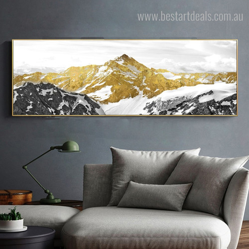 Mountaineers Abstract Panoramic Landscape Framed Vignette Picture Canvas Print for Room Wall Assortment