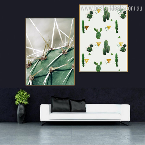 Cactus Forks Abstract Botanical Modern Framed Effigy Photo Canvas Print for Room Wall Drape