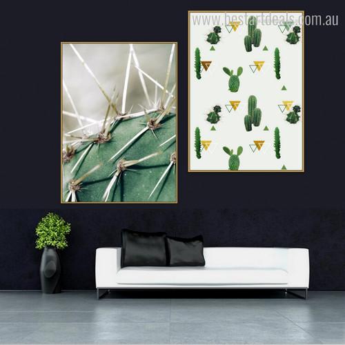 Cactus Forks Abstract Botanical Modern Framed Effigy Photo Canvas Print for Room Wall Drape