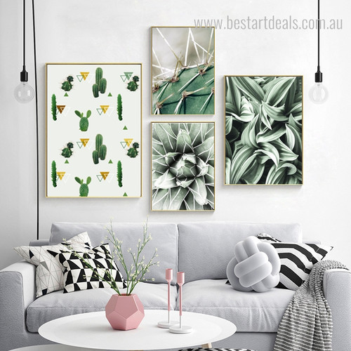 Cactus Spear Botanical Contemporary Framed Artwork Image Canvas Print for Room Wall Decoration