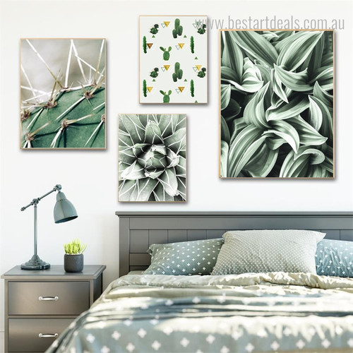 Cactus Bines Abstract Botanical Modern Framed Smudge Portrait Canvas Print for Room Wall Molding