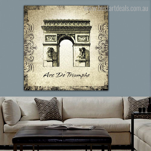 Arc De Triomphe Architecture City Vintage Framed Painting Portrait Canvas Print for Room Wall Tracery