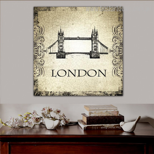 Tower Bridge Architecture City Vintage Framed Vignette Image Canvas Print for Room Wall Decoration