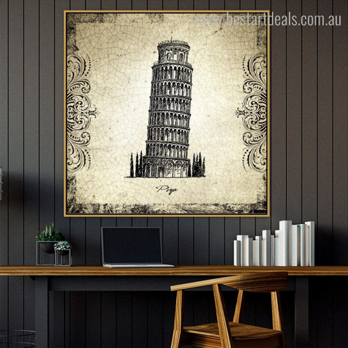 Leaning Tower of Pisa Architecture City Vintage Framed Smudge Photo Canvas Print for Room Wall Assortment