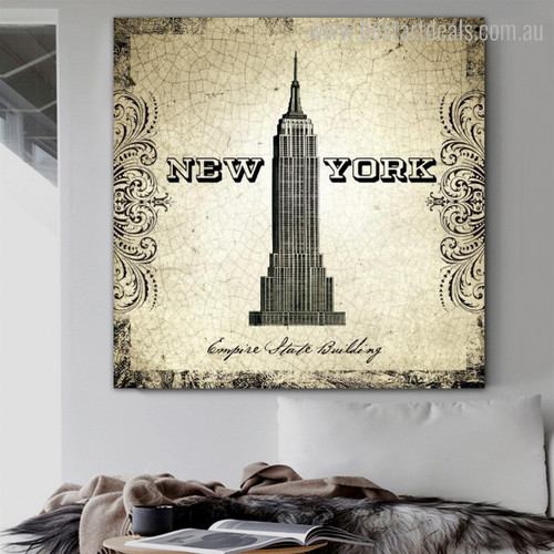 Empire State Building Architecture City Vintage Framed Artwork Photo Canvas Print for Room Wall Equipment