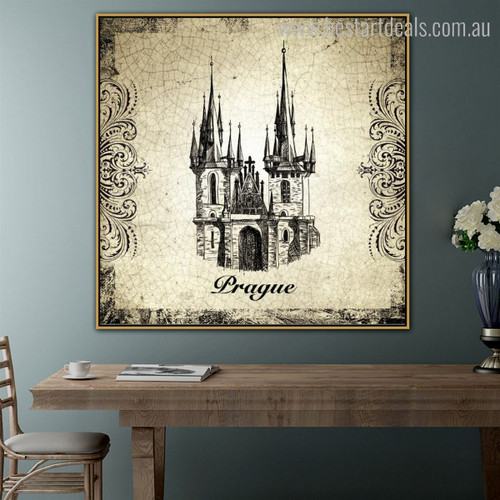 Church of our Lady Architecture City Vintage Framed Artwork Photo Canvas Print for Living Room Wall Outfit