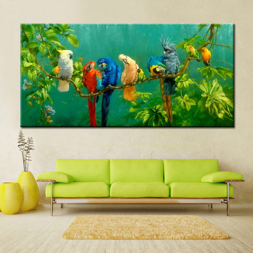 Parrots forest trees canvas print wall art décor