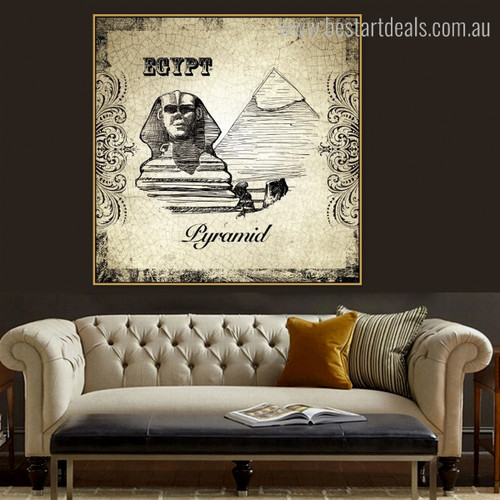 Pyramid of Khafre City Vintage Framed Effigy Image Canvas Print for Room Wall Drape