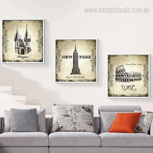 Coliseum and Church Architecture City Vintage Framed Smudge Portrait Canvas Print for Room Wall Tracery