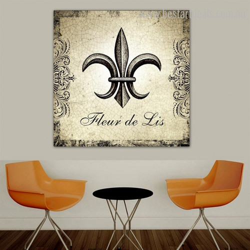 Fleur De Lis Typography Vintage Framed Painting Photo Canvas Print for Room Wall Outfit