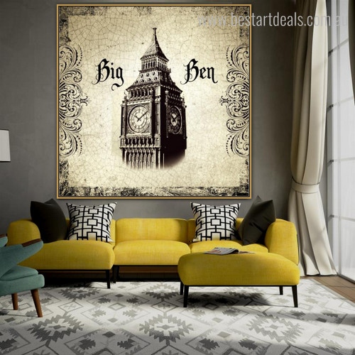 Big Ben Tower Architecture City Vintage Framed Artwork Portrait Canvas Print for Room Wall Onlay