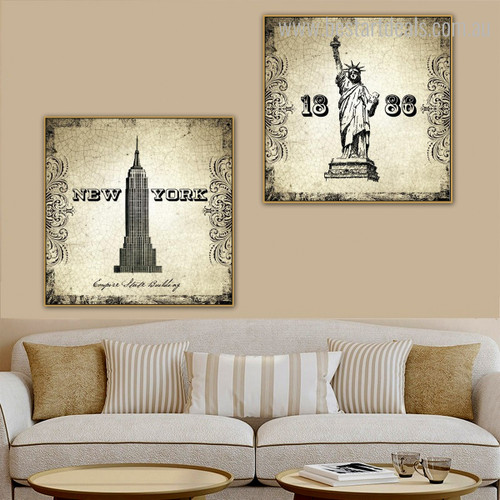 Statue Liberty Building Architecture City Vintage Framed Resemblance Photo Canvas Print for Room Wall Getup