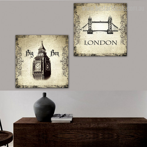 Towers Architecture City Vintage Framed Painting Portrait Canvas Print for Room Wall Outfit