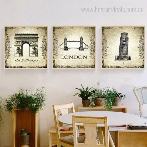 Triomphe and Towers Architecture City Vintage Framed Artwork Picture Canvas Print for Room Wall Decoration