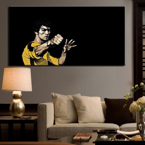 Kung Fu Superstar Bruce Lee Poster Digital Printed Wall Pictures for Living