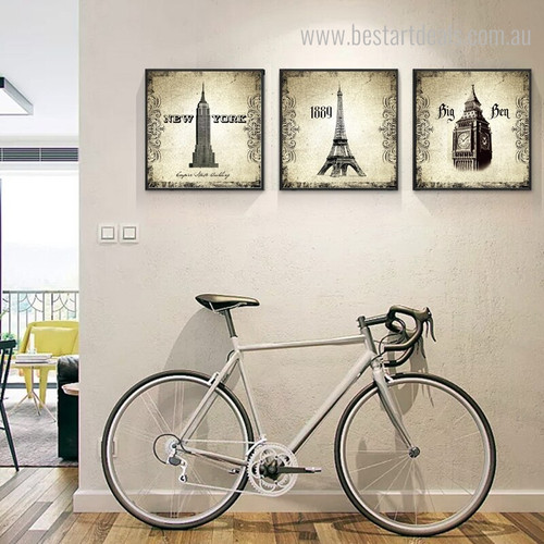 Elizabeth and Eiffel Tower Architecture City Vintage Framed Portraiture Image Canvas Print for Room Wall Onlay