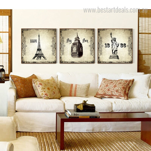Statue Liberty and Towers Architecture City Vintage Framed Painting Photo Canvas Print for Room Wall Decor