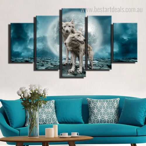 Wolves Animal Nature Modern Framed Painting Photo Canvas Print for Room Wall Outfit