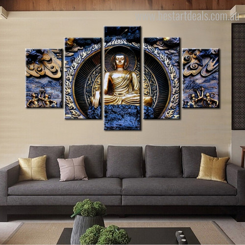 The Buddha Reliefs Buddhism Religious Framed Artwork Picture Canvas Print for Room Wall Decoration