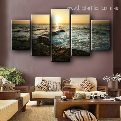 Sunrise at Strand Landscapes Nature Framed Effigy Portrait Canvas Print for Room Wall Assortment