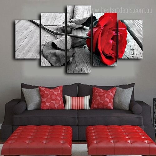 Red Rose Flower Floral Contemporary Framed Painting Image Canvas Print for Room Wall Drape