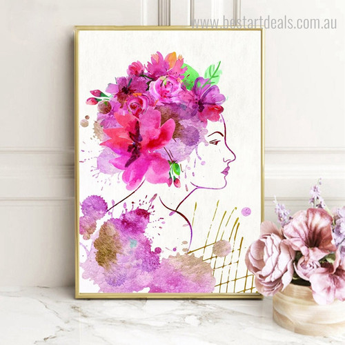 Floral Girl Botanical Abstract Watercolor Framed Smudge Photo Canvas Print for Room Wall Finery