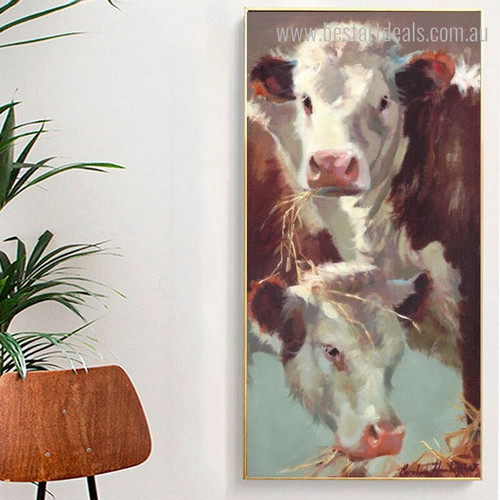 Neat and Calf Abstract Animal Modern Framed Vignette Picture Canvas Print for Room Wall Garnish