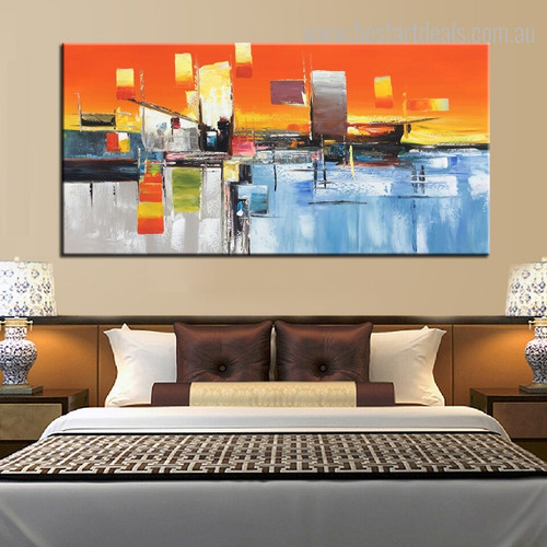 Profound Landscape Abstract Modern Framed Tableau Image Canvas Print for Bedroom Wall Tracery