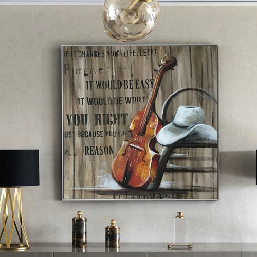 Cello Abstract Music Quote Modern Framed Smudge Portrait Canvas Print for Living Room Wall Outfit