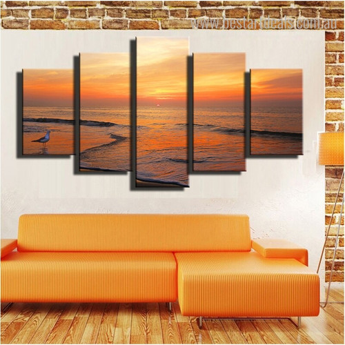 Sun Up at Ocean Landscape Modern Nature Framed Scheme Photo Canvas Print for Room Wall Garniture