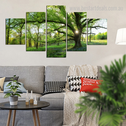Moor Nature Botanical Contemporary Framed Artwork Picture Canvas Print for Room Wall Adornment